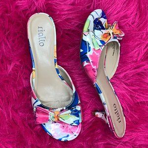 Rialto Floral Heeled Sandals Size 7